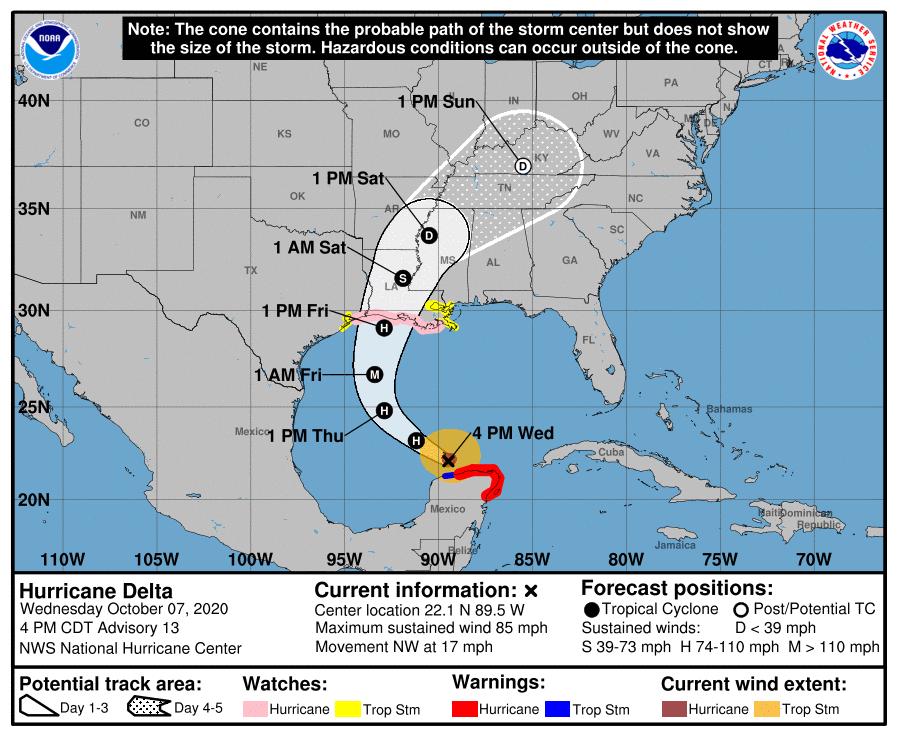 Hurricane Delta moves toward Louisiana